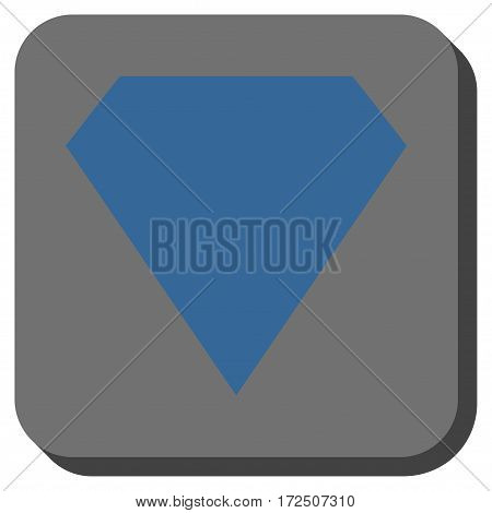 Diamond interface toolbar button. Vector pictogram style is a flat symbol on a rounded square button cobalt blue and gray colors.