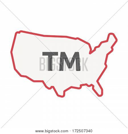 Isolated Line Art Usa Map With    The Text Tm