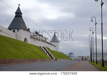 White wall and towers of the Kremlin in Kazan Republic of Tatarstan Russia