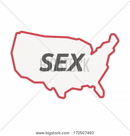 Isolated Line Art Usa Map With    The Text Sex