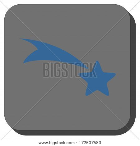 Falling Star interface icon. Vector pictograph style is a flat symbol centered in a rounded square button cobalt blue and gray colors.