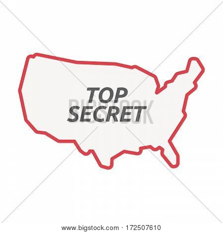 Isolated Line Art Usa Map With    The Text Top Secret