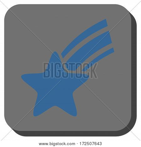 Falling Star interface button. Vector pictograph style is a flat symbol centered in a rounded square button cobalt blue and gray colors.