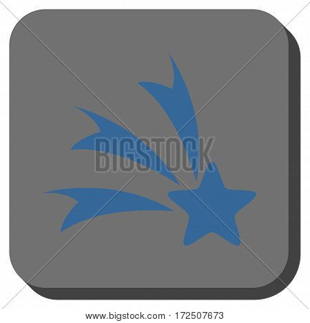 Falling Star square button. Vector pictogram style is a flat symbol inside a rounded square button cobalt blue and gray colors.