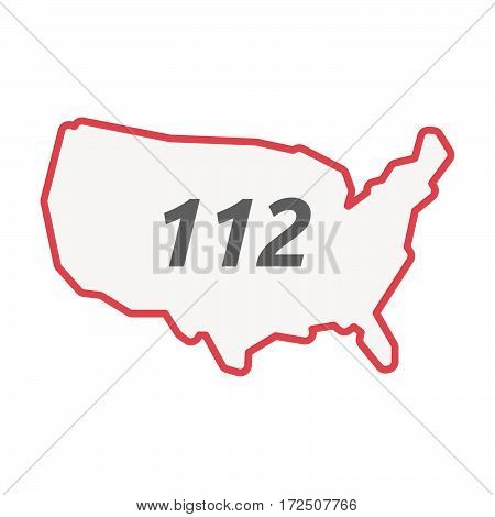 Isolated Line Art Usa Map With    The Text 112