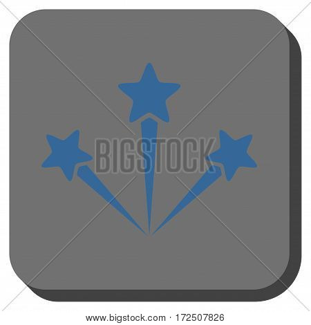 Festive Fireworks interface toolbar icon. Vector pictogram style is a flat symbol in a rounded square button cobalt blue and gray colors.
