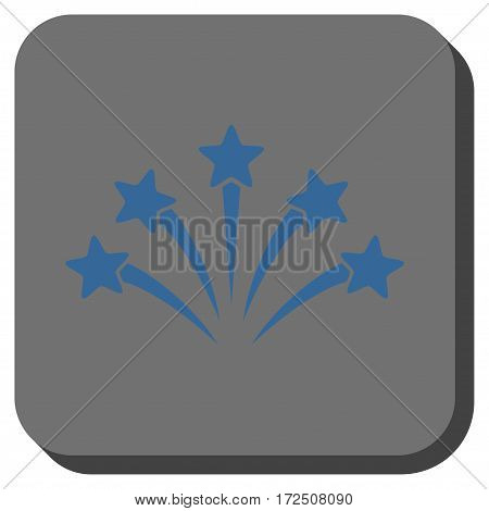 Fireworks Burst toolbar icon. Vector pictogram style is a flat symbol inside a rounded square button cobalt blue and gray colors.