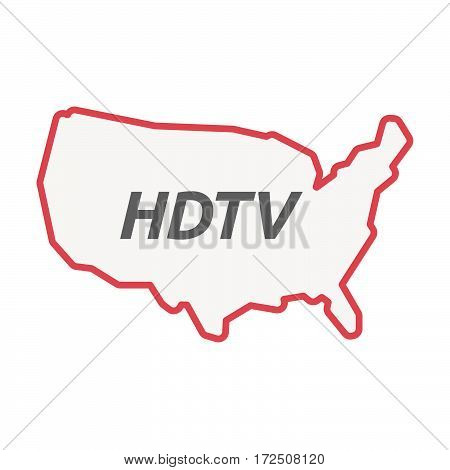 Isolated Line Art Usa Map With    The Text Hdtv
