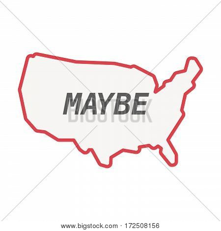 Isolated Line Art Usa Map With    The Text Maybe