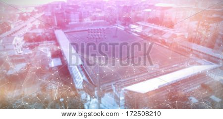 Constellation between stars against high angle view of soccer stadium