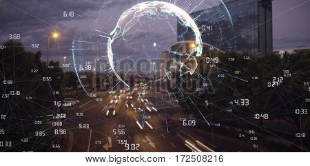 Image of earth with different times against cars moving on road in city at night