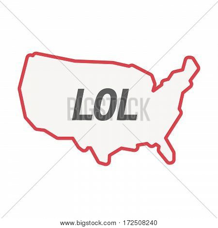 Isolated Line Art Usa Map With    The Text Lol