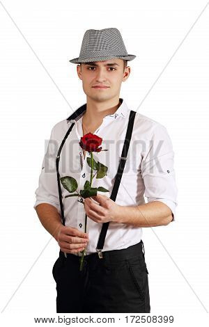 A man with red rose in the hands. Valentine day