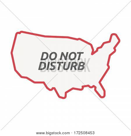 Isolated Line Art Usa Map With    The Text Do Not Disturb