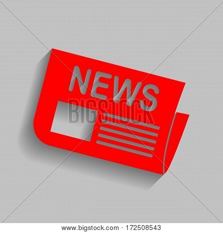 Newspaper sign. Vector. Red icon with soft shadow on gray background.