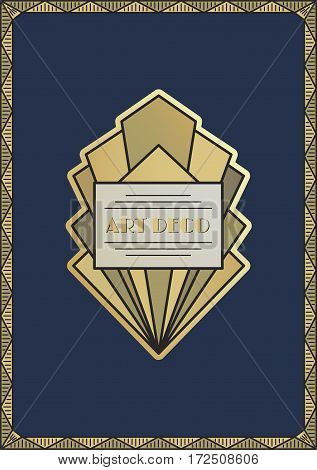Art Deco vintage frame. Design template for flyers, booklets, greeting cards, invitations, retro parties and advertising. Art deco or Nouveau epoch 1920's era vector.