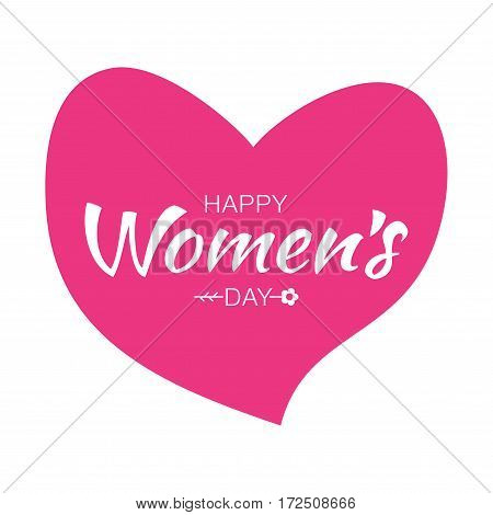 Happy Valentines Day Typographic Lettering isolated on white Background With Pink Heart and Arrow. Vector Illustration of a Valentine's Day Card.