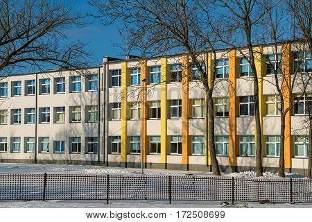 Exterior of renovated school building. Estonia Europe