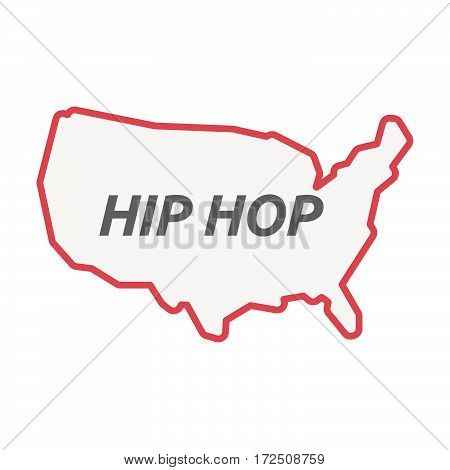 Isolated Line Art Usa Map With    The Text Hip Hop