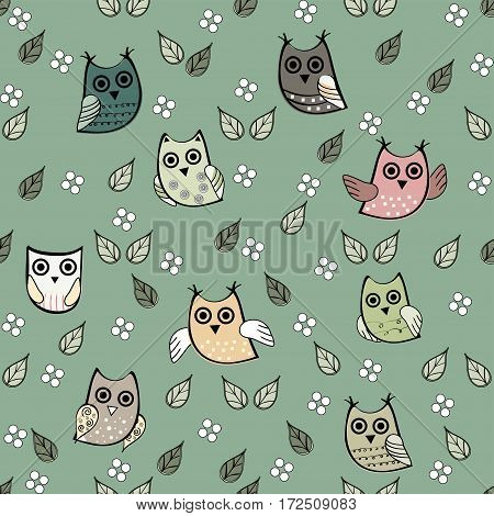 Owl leaves vector seamless pattern. Vector owl. Animals and bird owl. Forest nature