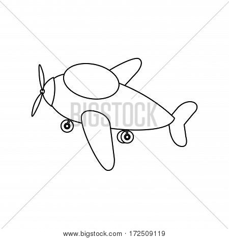 contour toy airplane fly icon, vector illustration design