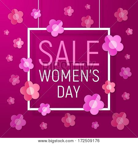 Womens day frame sale background with Paper Flowers. Vector illustration. March 8 - Women's Day Paper Design of greeting card template.
