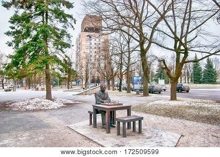 NARVA, ESTONIA - JANUARY 2, 2017: Monument to Pail Kerese, Estonian chess grandmaster on Pushkin Street in the center of the town not far from Estonian-Russian border