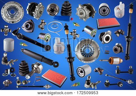 Auto spare parts car on the blue background. Set with many isolated items for shop or aftermarket.