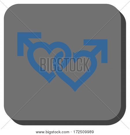 Linked Gay Hearts interface icon. Vector pictograph style is a flat symbol inside a rounded square button cobalt blue and gray colors.