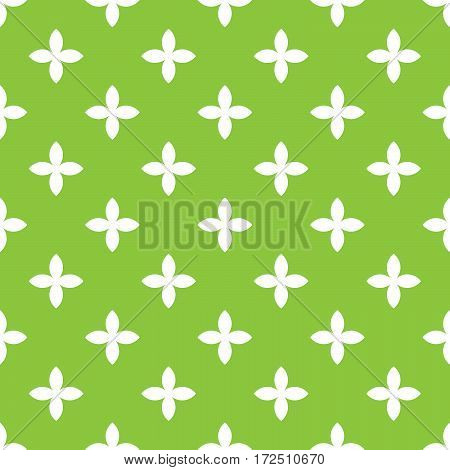 Abstract vector seamless pattern mosaic of white four leaf blooms in diagonal arrangement on green background. Simple flat natural design wallpaper.