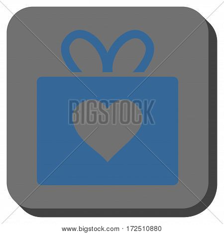 Love Gift square icon. Vector pictogram style is a flat symbol on a rounded square button cobalt blue and gray colors.