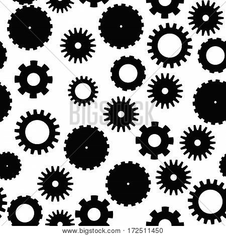 Abstract vector seamless pattern mosaic of black cog wheels on white background. Industrial and retro technology design wallpaper.