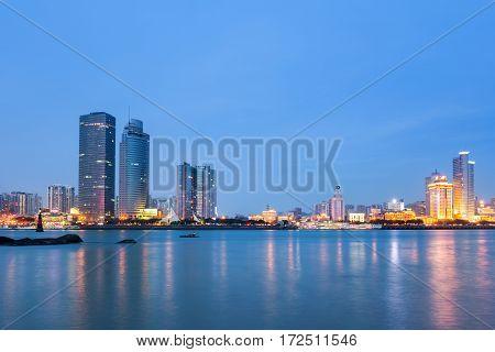 xiamen skyline in nightfall famous coastal tourist city in China