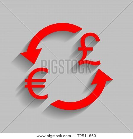 Currency exchange sign. Euro and UK Pound. Vector. Red icon with soft shadow on gray background.