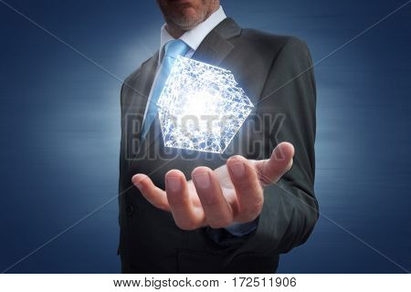 Businessman showing his empty hand against blue vignette