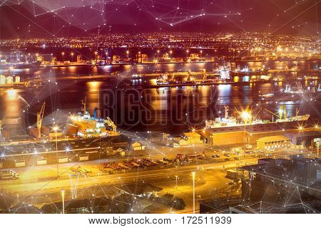 Constellation between stars against illuminated harbor against cityscape