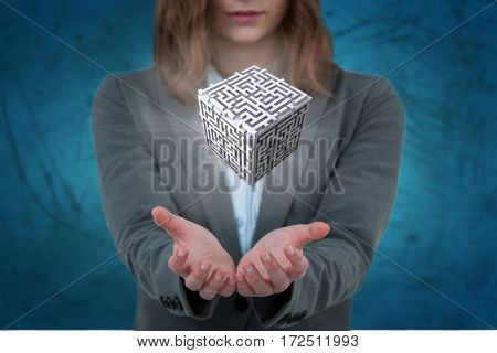Businesswoman gesturing against blue vignette background