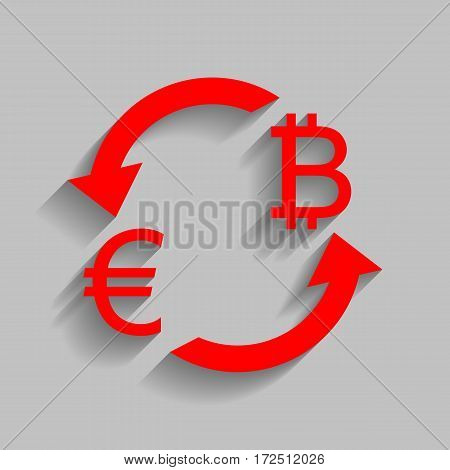 Currency exchange sign. Euro and Bitkoin. Vector. Red icon with soft shadow on gray background.