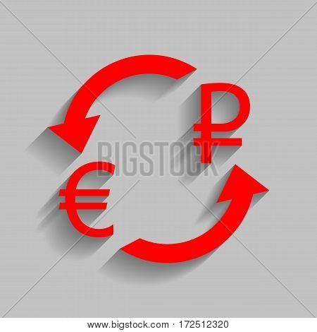 Currency exchange sign. Euro and Russia Rouble. Vector. Red icon with soft shadow on gray background.