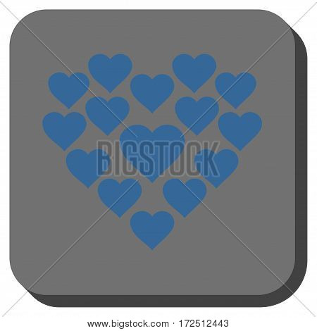 Love Hearts Shape interface button. Vector pictograph style is a flat symbol in a rounded square button cobalt blue and gray colors.