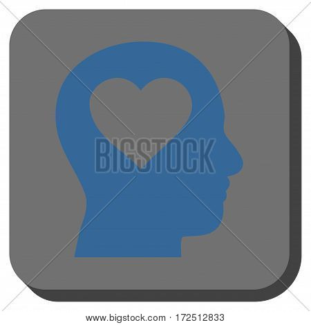 Love In Head interface button. Vector pictogram style is a flat symbol on a rounded square button cobalt blue and gray colors.