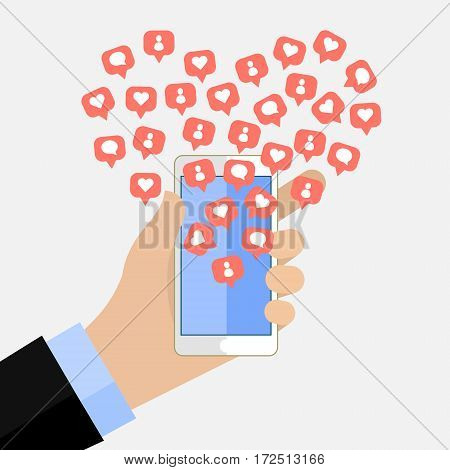 Concept of the popularity in social networking. Top user. Man holding smartphone with Like and add friends notification icons.