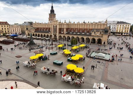 KRAKOW, POLAND - SEP 20, 2016: Main Market Square. Project for Public Spaces (PPS) lists the square as the best public space in Europe due to its lively street life.13th century, at roughly 40,000 m2.