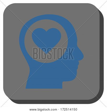 Love Thinking Head rounded icon. Vector pictograph style is a flat symbol centered in a rounded square button cobalt blue and gray colors.