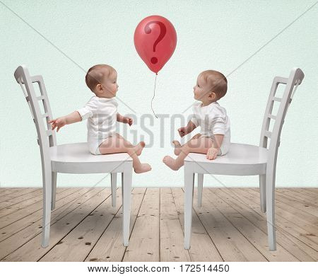 Dialogue of two babies and red balloon