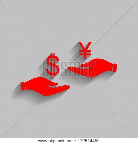 Currency exchange from hand to hand. Dollar and Yen. Vector. Red icon with soft shadow on gray background.