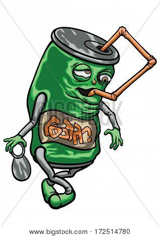 Illustration cartoon funny soda or beer can. It drinks itself through a straw