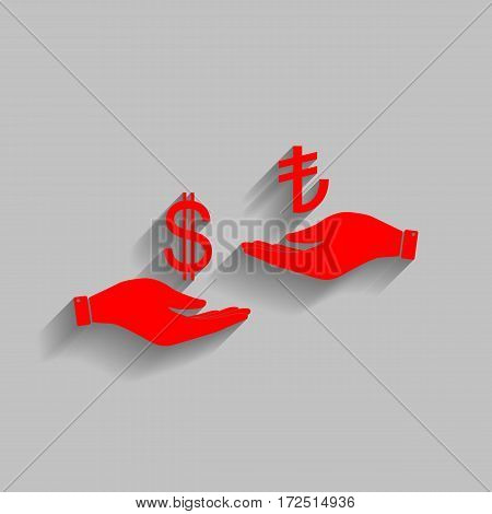 Currency exchange from hand to hand. Dollar and Turkey Lira. Vector. Red icon with soft shadow on gray background.