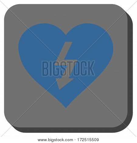 Power Love Heart interface button. Vector pictograph style is a flat symbol inside a rounded square button cobalt blue and gray colors.