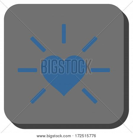 Shiny Love Heart interface icon. Vector pictograph style is a flat symbol in a rounded square button cobalt blue and gray colors.